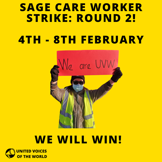 UVW posters advertising strike on 4th- 8th February